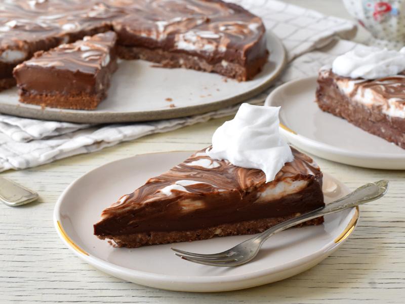 פאי שוקולד טבעוני פרוסה