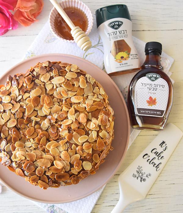 עוגת עקיצת הדבורה עם דבש ומייפל של יד מרדכי